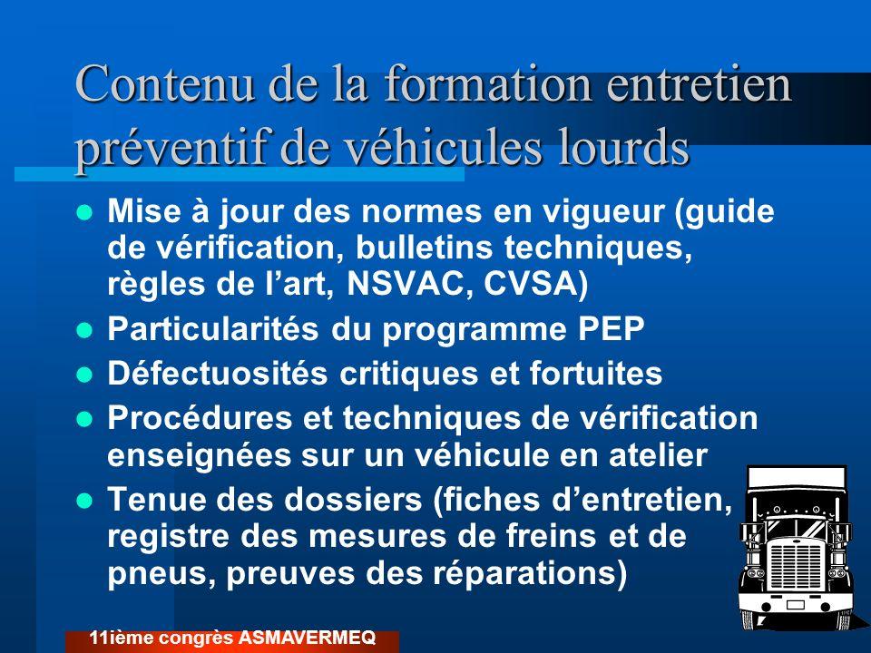 Normes CVSA utilisées par les contrôleurs routiers Ne sont pas toujours les mêmes que celles du Guide de vérification mécanique Règle du 20% pour les freins pneumatique Par exemple, un frein peut être considéré à moitié défectueux 11ième congrès ASMAVERMEQ