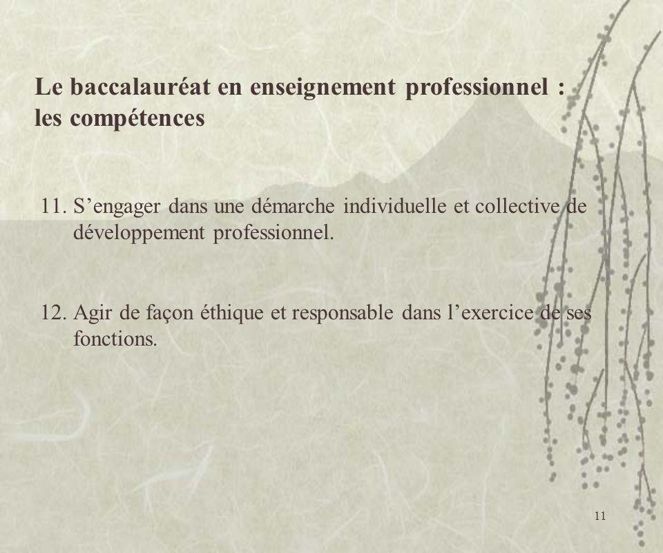 11 11.Sengager dans une démarche individuelle et collective de développement professionnel. 12.Agir de façon éthique et responsable dans lexercice de