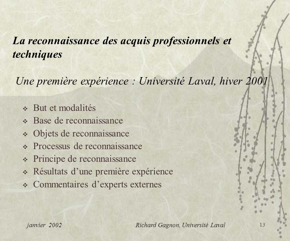 13 La reconnaissance des acquis professionnels et techniques Une première expérience : Université Laval, hiver 2001 But et modalités Base de reconnais