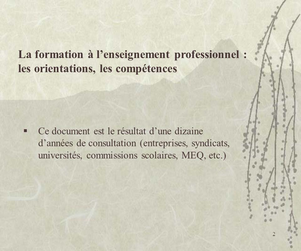 2 La formation à lenseignement professionnel : les orientations, les compétences Ce document est le résultat dune dizaine dannées de consultation (ent