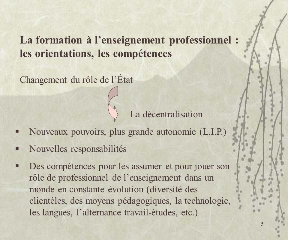 5 La formation à lenseignement professionnel : les orientations, les compétences Changement du rôle de lÉtat La décentralisation Nouveaux pouvoirs, pl
