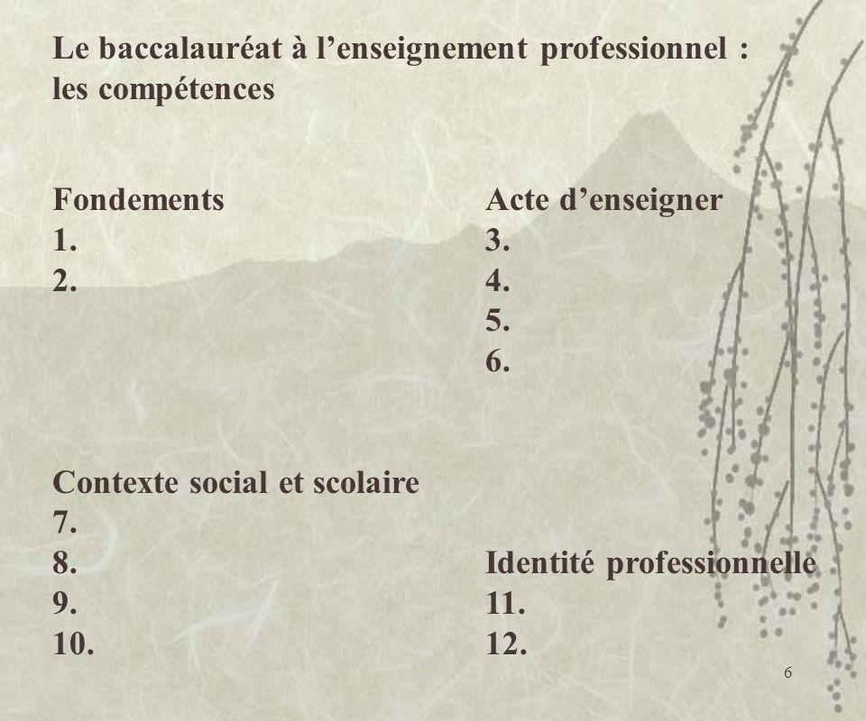 6 Le baccalauréat à lenseignement professionnel : les compétences FondementsActe denseigner 1.3. 2.4. 5. 6. Contexte social et scolaire 7. 8.Identité