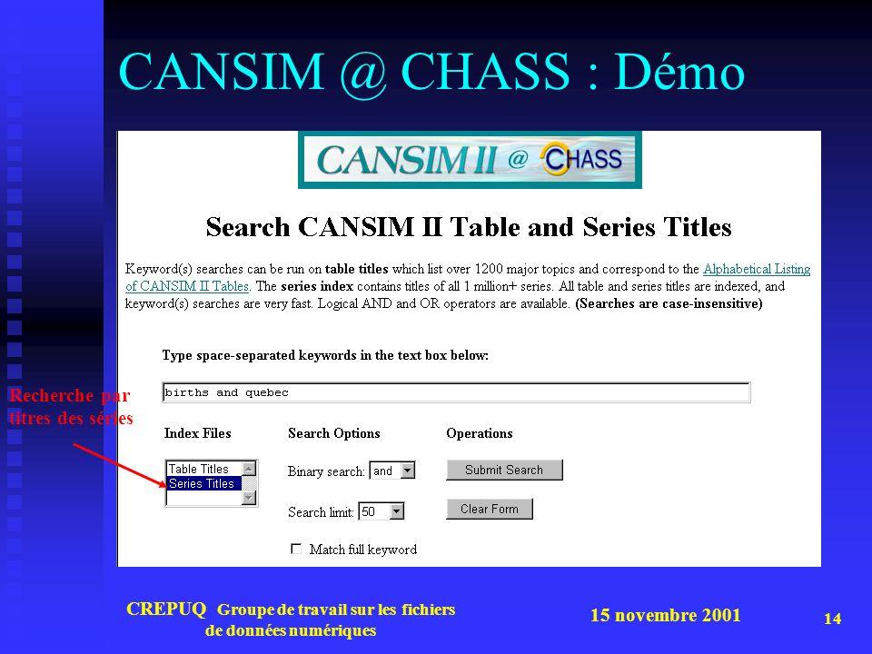 15 novembre 2001 CREPUQ Groupe de travail sur les fichiers de données numériques 14 CANSIM @ CHASS : Démo Recherche par titres des séries