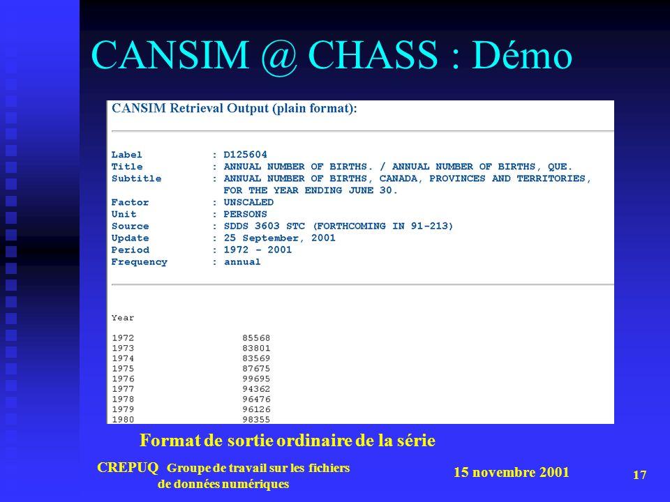 15 novembre 2001 CREPUQ Groupe de travail sur les fichiers de données numériques 17 CANSIM @ CHASS : Démo Format de sortie ordinaire de la série