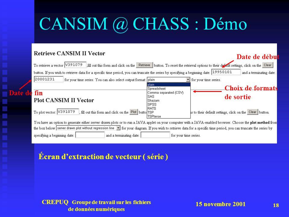 15 novembre 2001 CREPUQ Groupe de travail sur les fichiers de données numériques 18 CANSIM @ CHASS : Démo Écran dextraction de vecteur ( série ) Choix de formats de sortie Date de début Date de fin