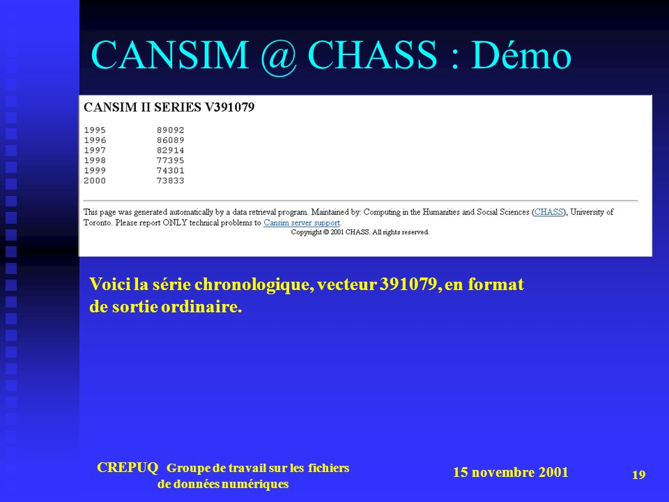 15 novembre 2001 CREPUQ Groupe de travail sur les fichiers de données numériques 19 CANSIM @ CHASS : Démo Voici la série chronologique, vecteur 391079, en format de sortie ordinaire.