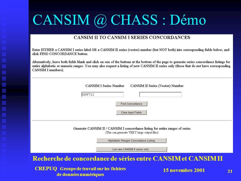 15 novembre 2001 CREPUQ Groupe de travail sur les fichiers de données numériques 21 CANSIM @ CHASS : Démo Recherche de concordance de séries entre CANSIM et CANSIM II