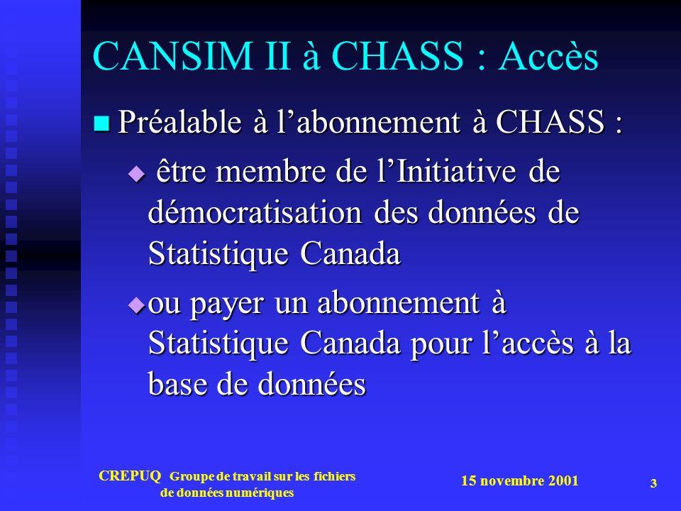 15 novembre 2001 CREPUQ Groupe de travail sur les fichiers de données numériques 3 CANSIM II à CHASS : Accès Préalable à labonnement à CHASS : Préalable à labonnement à CHASS : être membre de lInitiative de démocratisation des données de Statistique Canada être membre de lInitiative de démocratisation des données de Statistique Canada ou payer un abonnement à Statistique Canada pour laccès à la base de données ou payer un abonnement à Statistique Canada pour laccès à la base de données