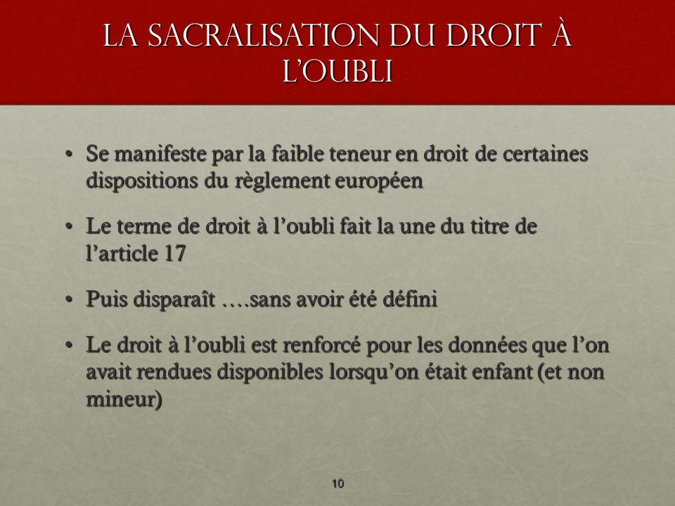 La sacralisation du droit à loubli Se manifeste par la faible teneur en droit de certaines dispositions du règlement européenSe manifeste par la faibl