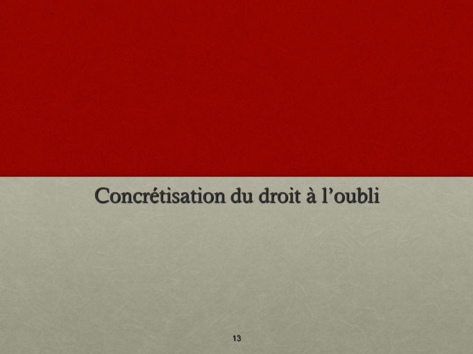 Concrétisation du droit à loubli 13