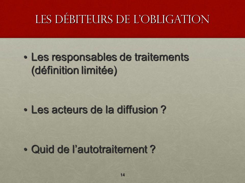 les débiteurs de lobligation Les responsables de traitements (définition limitée) Les responsables de traitements (définition limitée) Les acteurs de la diffusion .