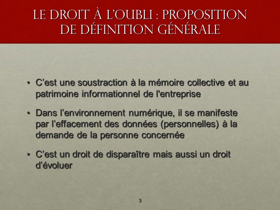 Le droit à loubli : proposition de définition générale Cest une soustraction à la mémoire collective et au patrimoine informationnel de l'entreprise C