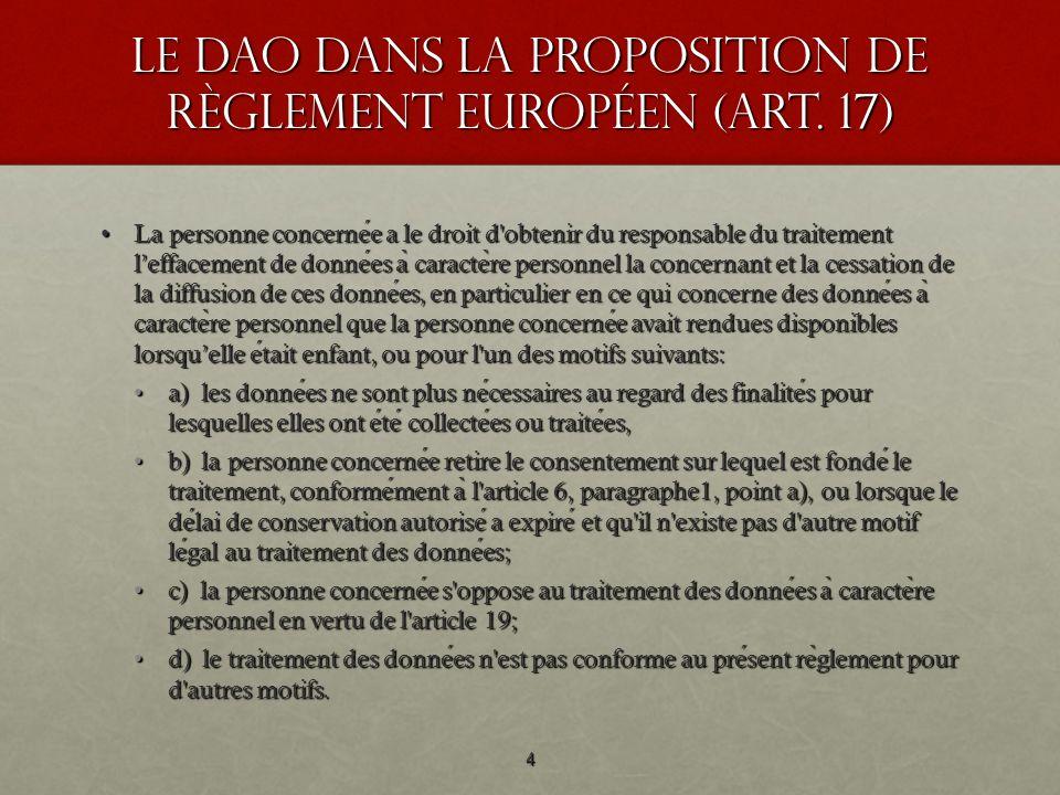 Le DAO dans la Proposition de règlement européen (art. 17) La personne concernee a le droit d'obtenir du responsable du traitement leffacement de donn