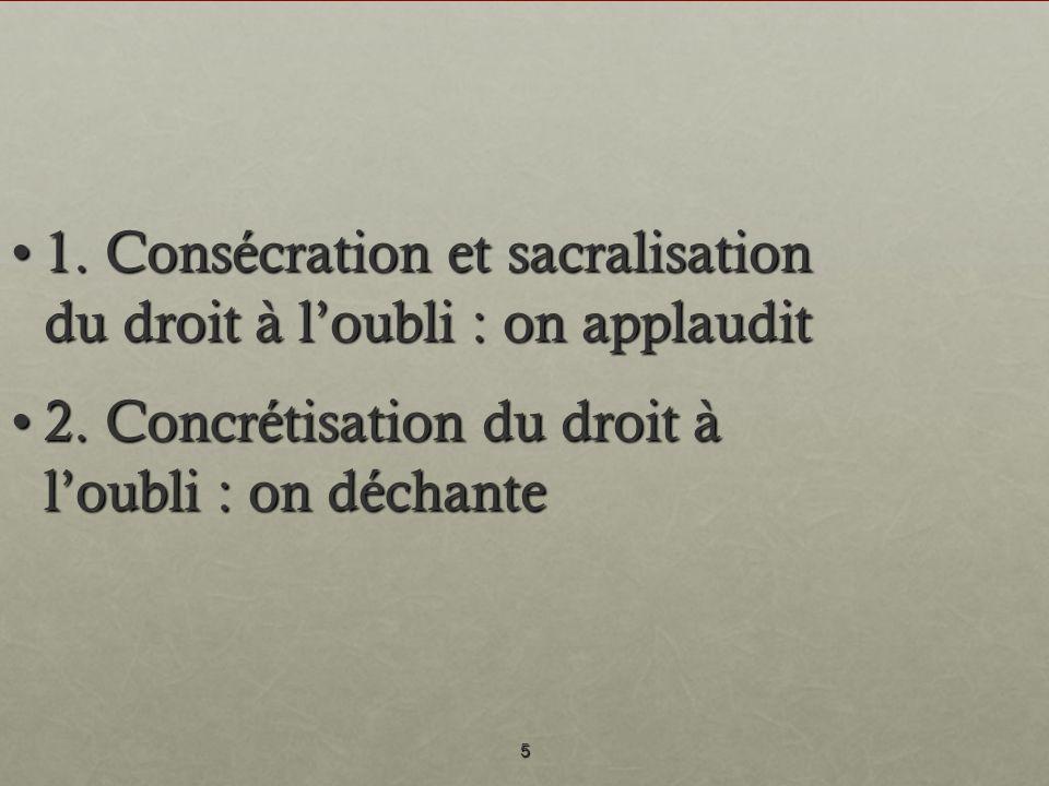 5 1. Consécration et sacralisation du droit à loubli : on applaudit1. Consécration et sacralisation du droit à loubli : on applaudit 2. Concrétisation
