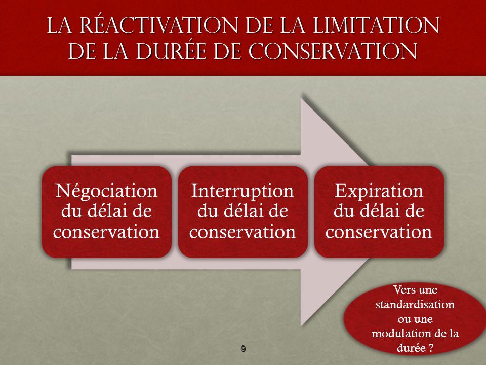 La réActivation de la limitation de la durée de conservation Négociation du délai de conservation Interruption du délai de conservation Expiration du délai de conservation 9 Vers une standardisation ou une modulation de la durée ?