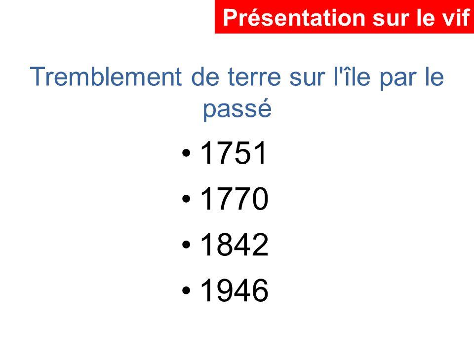 Tremblement de terre sur l'île par le passé 1751 1770 1842 1946 Présentation sur le vif