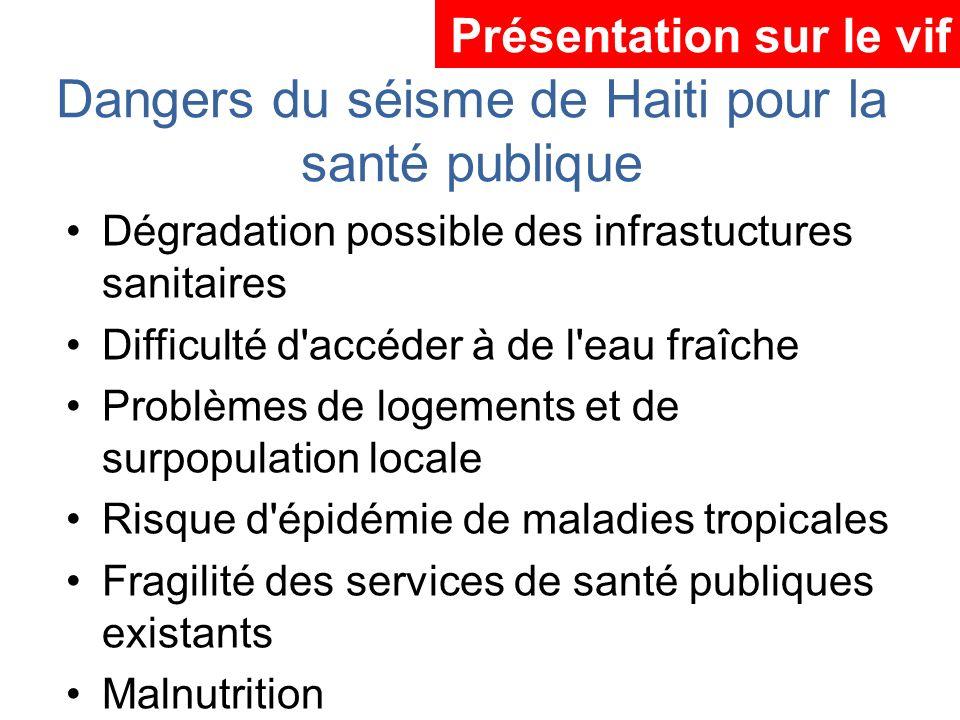 Dangers du séisme de Haiti pour la santé publique Dégradation possible des infrastuctures sanitaires Difficulté d'accéder à de l'eau fraîche Problèmes