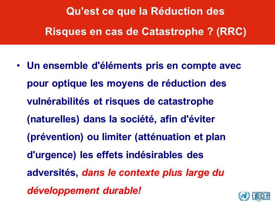 Qu'est ce que la Réduction des Risques en cas de Catastrophe ? (RRC) Un ensemble d'éléments pris en compte avec pour optique les moyens de réduction d