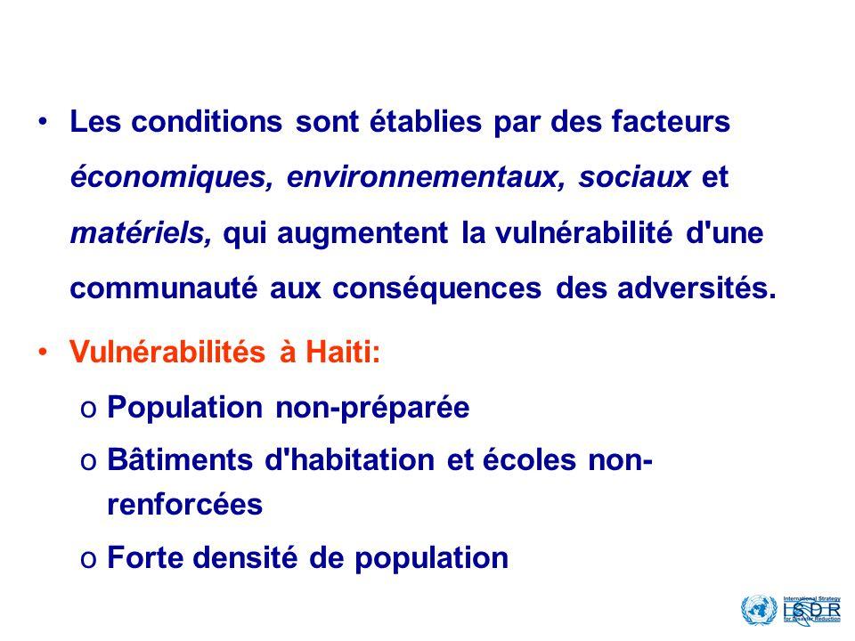 What is the Vulnerability? Les conditions sont établies par des facteurs économiques, environnementaux, sociaux et matériels, qui augmentent la vulnér