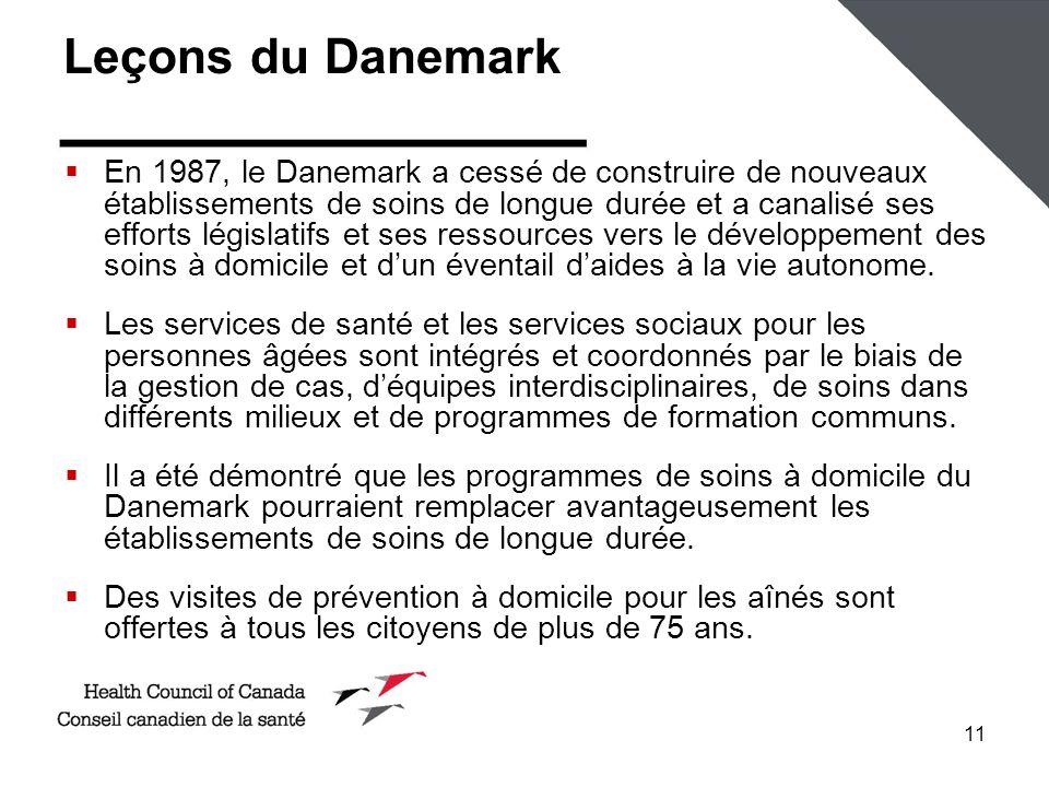 11 Leçons du Danemark En 1987, le Danemark a cessé de construire de nouveaux établissements de soins de longue durée et a canalisé ses efforts législatifs et ses ressources vers le développement des soins à domicile et dun éventail daides à la vie autonome.