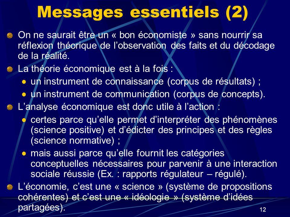 12 Messages essentiels (2) On ne saurait être un « bon économiste » sans nourrir sa réflexion théorique de lobservation des faits et du décodage de la