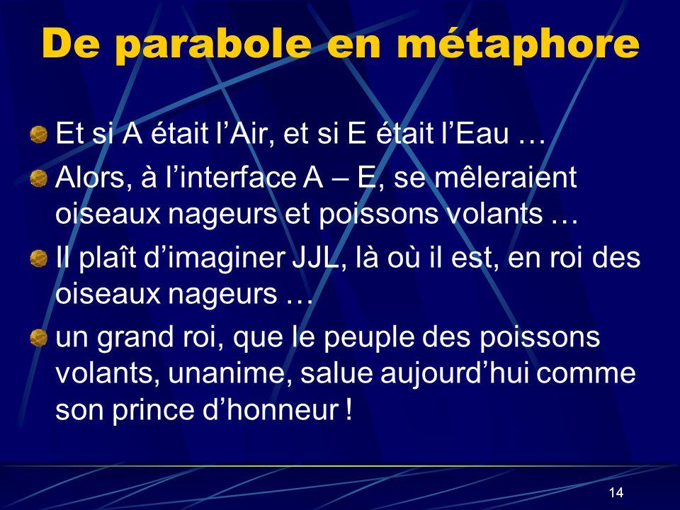 14 De parabole en métaphore Et si A était lAir, et si E était lEau … Alors, à linterface A – E, se mêleraient oiseaux nageurs et poissons volants … Il