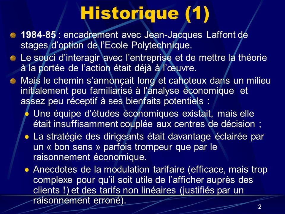 2 Historique (1) 1984-85 : encadrement avec Jean-Jacques Laffont de stages doption de lEcole Polytechnique. Le souci dinteragir avec lentreprise et de