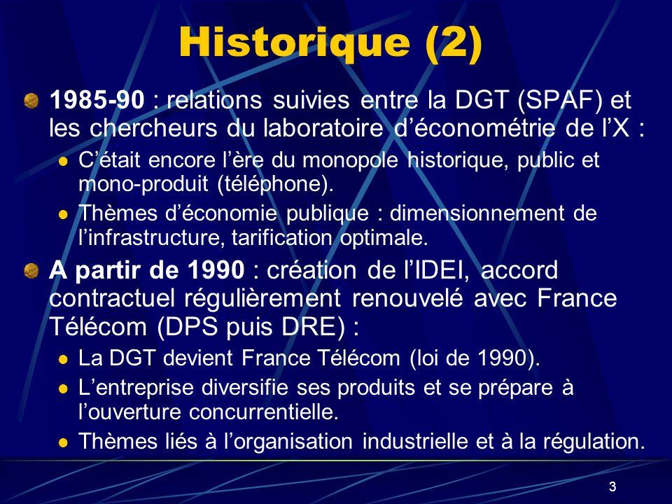 3 Historique (2) 1985-90 : relations suivies entre la DGT (SPAF) et les chercheurs du laboratoire déconométrie de lX : Cétait encore lère du monopole