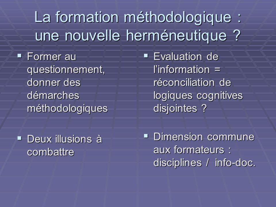 La formation méthodologique : une nouvelle herméneutique .