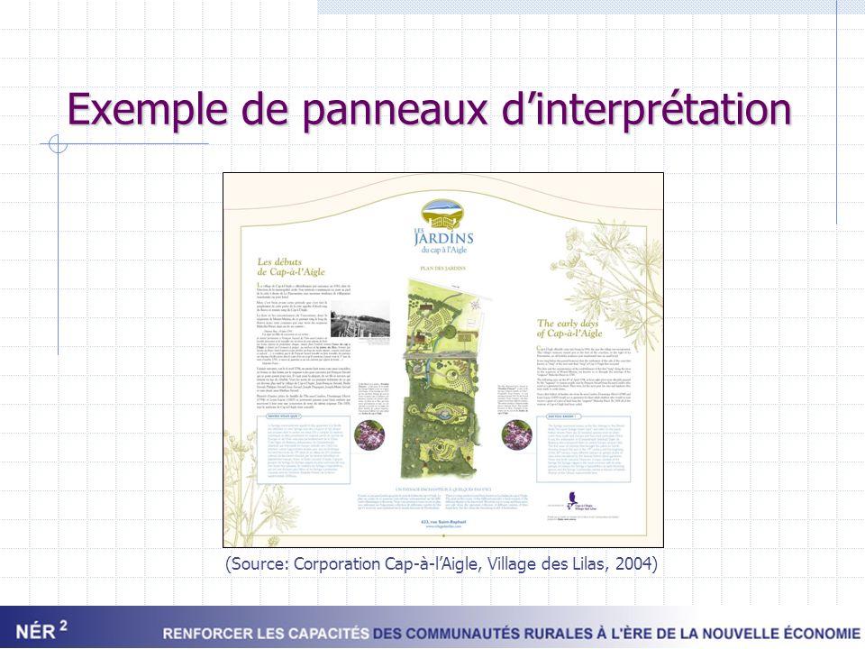 Exemple de panneaux dinterprétation (Source: Corporation Cap-à-lAigle, Village des Lilas, 2004)