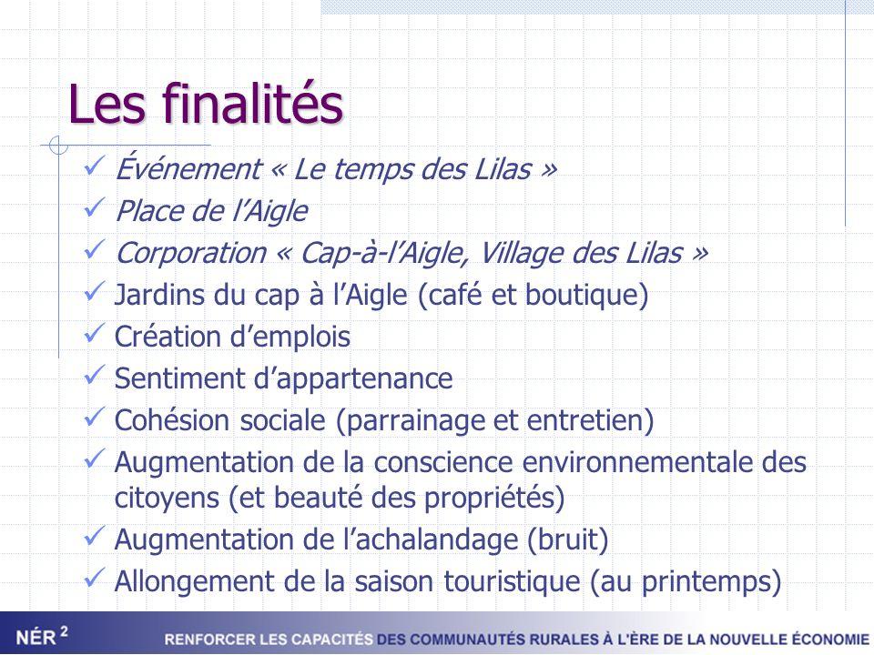 Les finalités Événement « Le temps des Lilas » Place de lAigle Corporation « Cap-à-lAigle, Village des Lilas » Jardins du cap à lAigle (café et boutiq