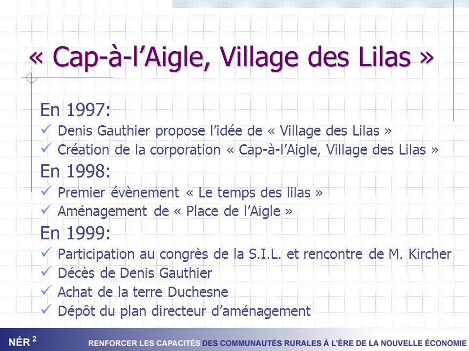 « Cap-à-lAigle, Village des Lilas » En 1997: Denis Gauthier propose lidée de « Village des Lilas » Création de la corporation « Cap-à-lAigle, Village