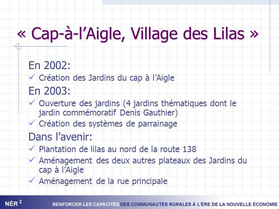 « Cap-à-lAigle, Village des Lilas » En 2002: Création des Jardins du cap à lAigle En 2003: Ouverture des jardins (4 jardins thématiques dont le jardin