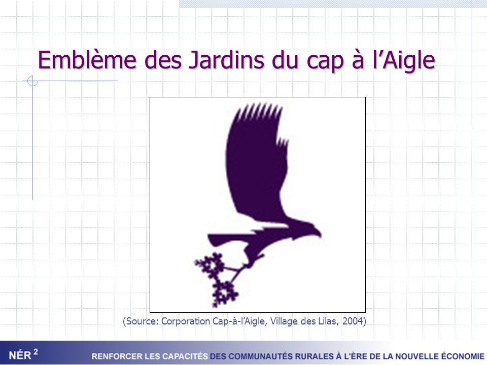 Logo des Jardins du cap à lAigle (Source: Corporation Cap-à-lAigle, Village des Lilas, 2004)