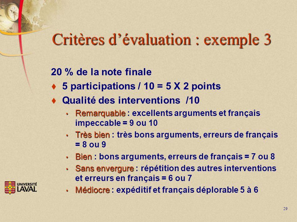 29 Critères dévaluation : exemple 3 20 % de la note finale 5 participations / 10 = 5 X 2 points Qualité des interventions /10 Remarquable Remarquable