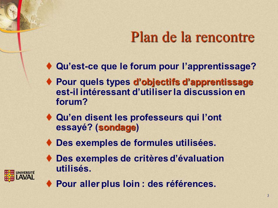 3 Plan de la rencontre Quest-ce que le forum pour lapprentissage? dobjectifs dapprentissage Pour quels types dobjectifs dapprentissage est-il intéress