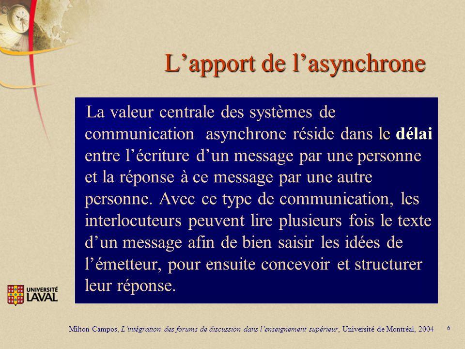 6 Lapport de lasynchrone le La valeur centrale des systèmes de communication asynchrone réside dans le délai entre lécriture dun message par une perso