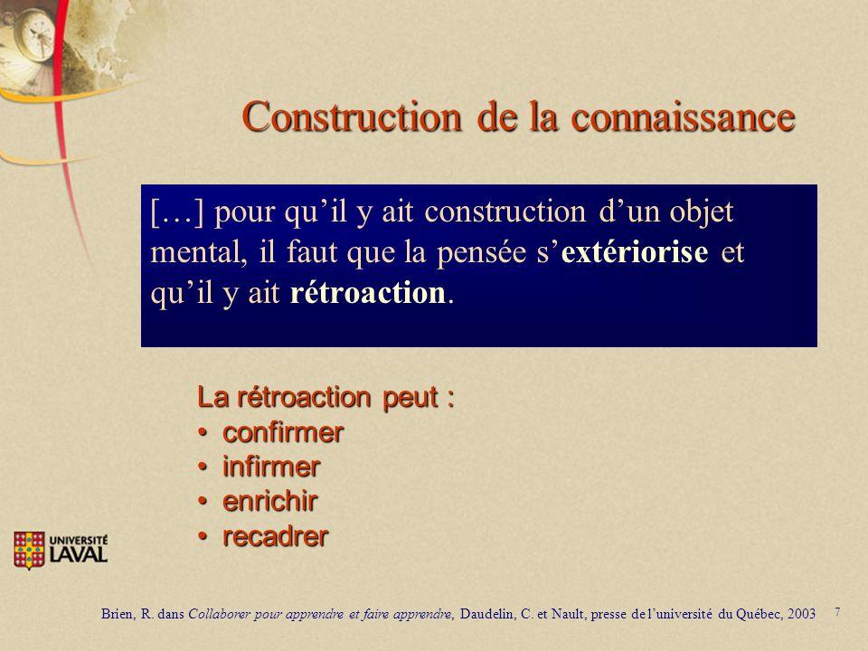 7 Construction de la connaissance […] pour quil y ait construction dun objet mental, il faut que la pensée sextériorise et quil y ait rétroaction. Bri