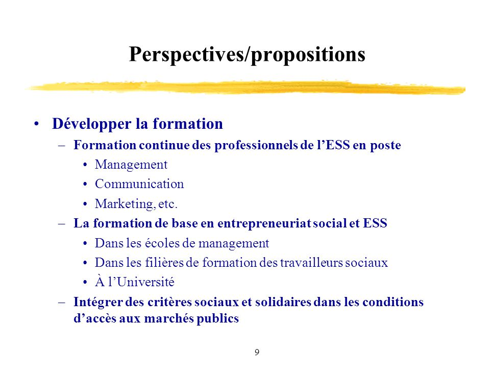 9 Perspectives/propositions Développer la formation –Formation continue des professionnels de lESS en poste Management Communication Marketing, etc. –