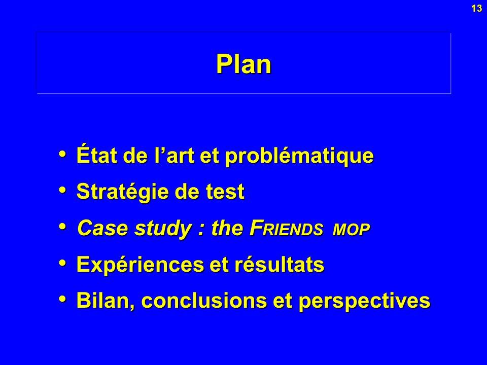 13Plan État de lart et problématique État de lart et problématique Stratégie de test Stratégie de test Case study : the F RIENDS MOP Case study : the