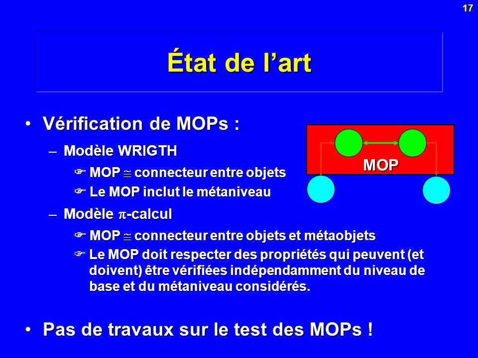 17 État de lart Vérification de MOPs :Vérification de MOPs : –Modèle WRIGTH MOP connecteur entre objets MOP connecteur entre objets Le MOP inclut le m