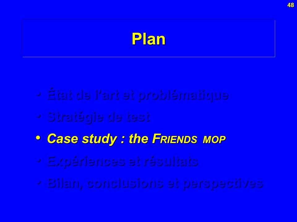 48Plan État de lart et problématique État de lart et problématique Stratégie de test Stratégie de test Case study : the F RIENDS MOP Case study : the