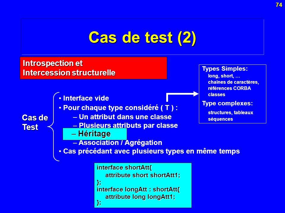 74 Cas de test (2) interface shortAtt{ attribute short shortAtt1; }; interface longAtt : shortAtt{ attribute long longAtt1; }; Interface vide Pour cha
