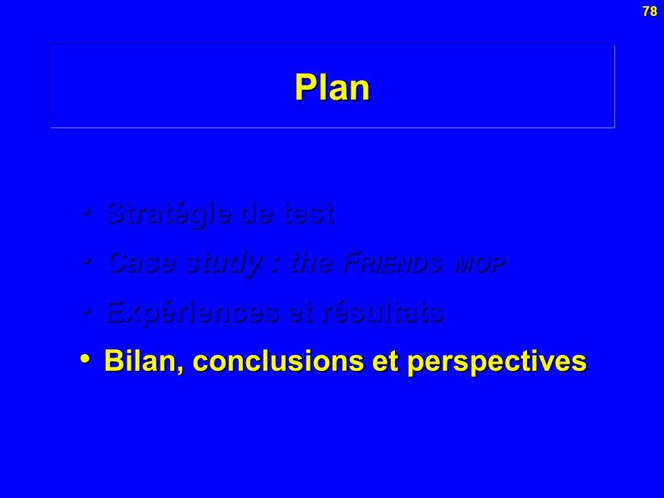 78Plan Stratégie de test Stratégie de test Case study : the F RIENDS MOP Case study : the F RIENDS MOP Expériences et résultats Expériences et résulta