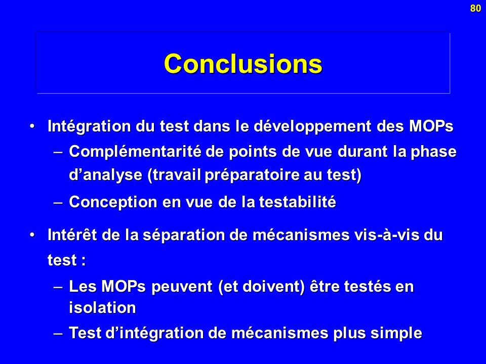 80Conclusions Intégration du test dans le développement des MOPsIntégration du test dans le développement des MOPs –Complémentarité de points de vue d