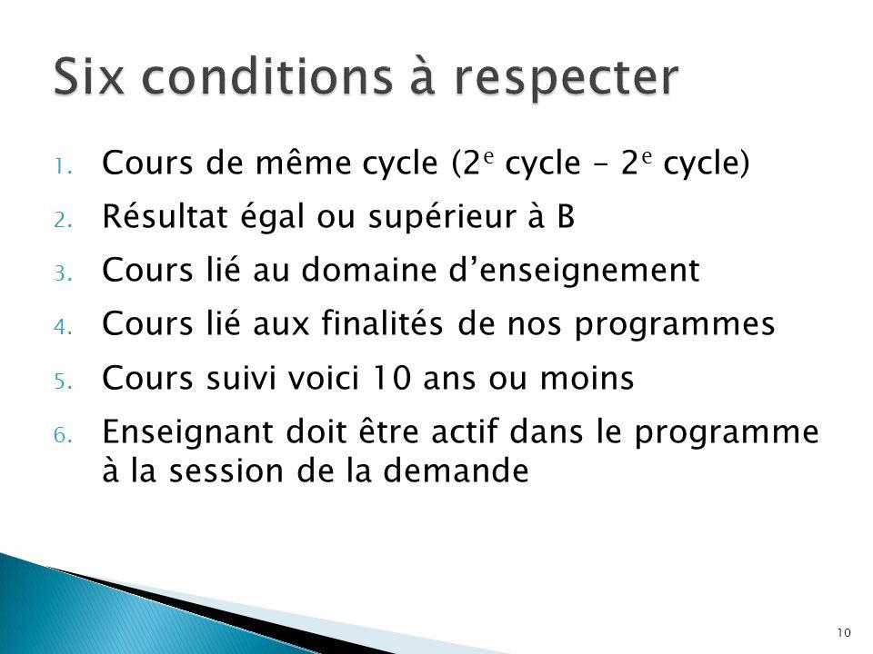 1. Cours de même cycle (2 e cycle – 2 e cycle) 2. Résultat égal ou supérieur à B 3. Cours lié au domaine denseignement 4. Cours lié aux finalités de n