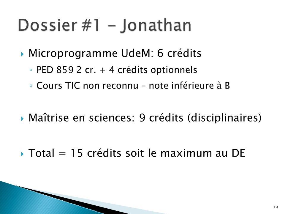 Microprogramme UdeM: 6 crédits PED 859 2 cr. + 4 crédits optionnels Cours TIC non reconnu – note inférieure à B Maîtrise en sciences: 9 crédits (disci