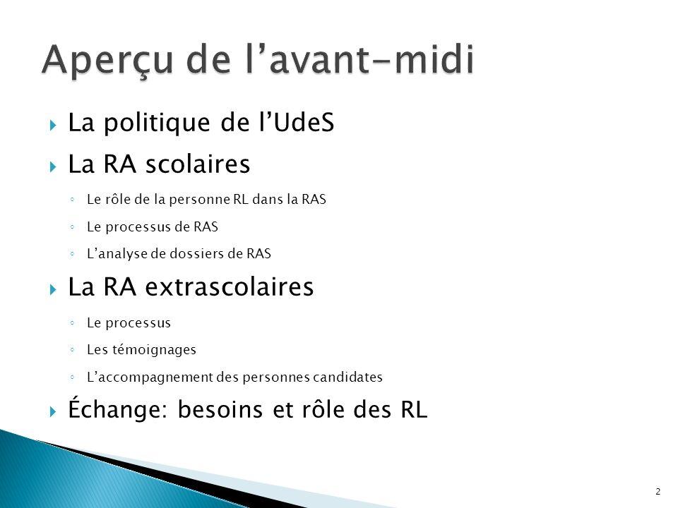 La politique de lUdeS La RA scolaires Le rôle de la personne RL dans la RAS Le processus de RAS Lanalyse de dossiers de RAS La RA extrascolaires Le pr