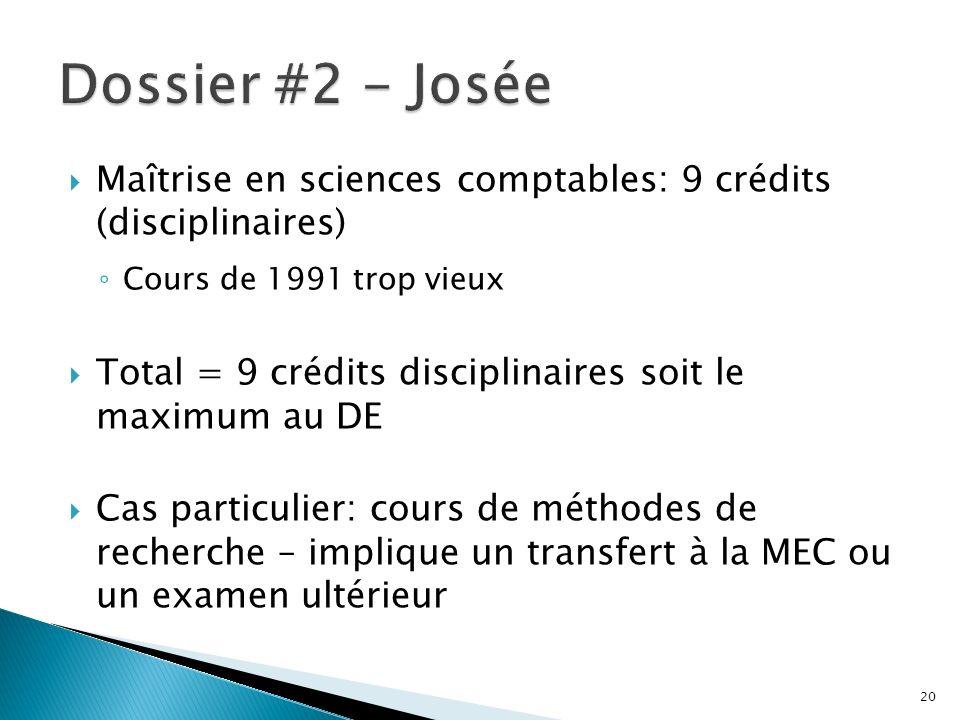 Maîtrise en sciences comptables: 9 crédits (disciplinaires) Cours de 1991 trop vieux Total = 9 crédits disciplinaires soit le maximum au DE Cas particulier: cours de méthodes de recherche – implique un transfert à la MEC ou un examen ultérieur 20