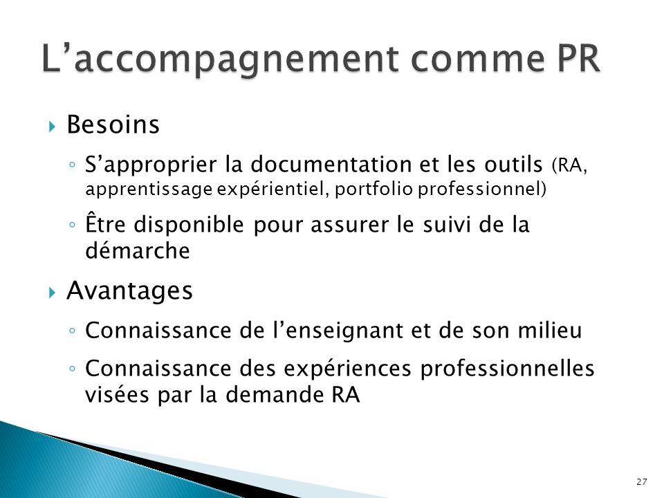 Besoins Sapproprier la documentation et les outils (RA, apprentissage expérientiel, portfolio professionnel) Être disponible pour assurer le suivi de